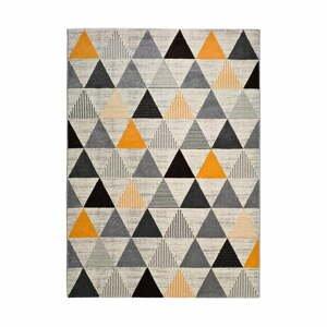Sivo-oranžový koberec Universal Leo Triangles, 80 x 150 cm