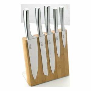 Sada 5 nožov z antikoro ocele s magnetickým bambusovým stojanom Jean Dubost Meteor Bamboo