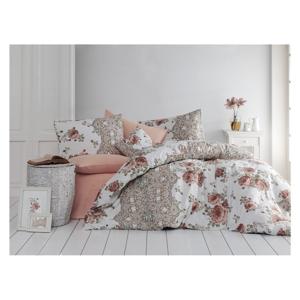 Bavlnené obliečky s plachtou na jednolôžko Nazenin Home Flowers, 140×200 cm