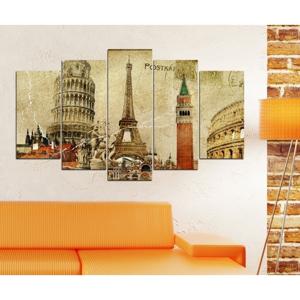 Viacdielny obraz 3D Art Mauve Eiffel, 102×60 cm
