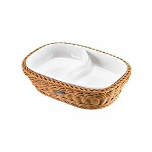 Porcelánová servírovacia miska v béžovom košíku Saleen, 22,5 x 16,5 x 5,5 cm