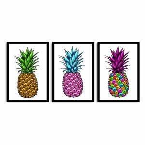 Trojdielny obraz Pineapple, 109×50 cm