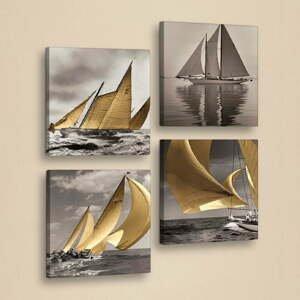 Dekoratívny viacdielny obraz Boats, 33×33 cm