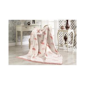 Bavlnená deka Aksu Flamingo, 220 × 180 cm
