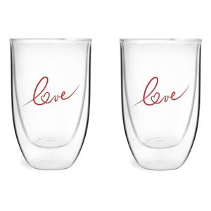 Sada 2 pohárov z dvojstenného skla s potlačou Love Vialli Design, 350 ml