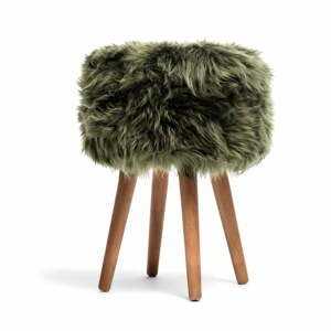 Stolička s tmavozeleným sedadlom z ovčej kožušiny Royal Dream, ⌀ 30 cm