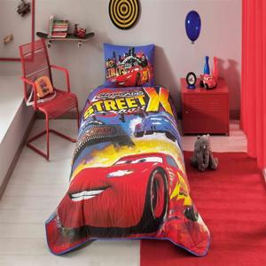 Set bavlneného plédu na posteľ a obliečky na vankúš Disney Cars Nitroade, 160 × 220 cm