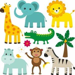 Sada 10 nástenných samolepiek Cute Animals