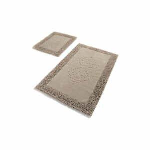 Súprava 2 béžových bavlnených kúpeľňových predložiek Confetti Bathmats Piante Beige