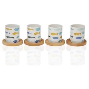 Sada 4 porcelánových šálok s bambusovými podšálkami Versa Blue Bay