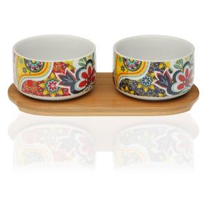 Sada 2 porcelánových misiek a bambusového podnosu Versa Giardino