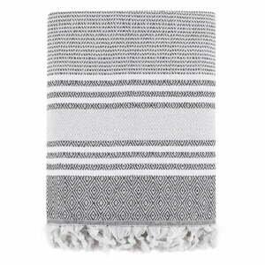Sivá bavlnená prikrývka cez posteľ Galina Grey White, 200 x 240 cm