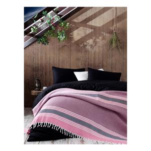 Ružová bavlnená prikrývka na posteľ Galina Pink Red White, 220×240 cm