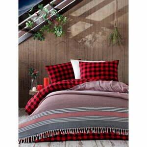 Červený bavlnený pléd Galina Black Red White, 220×240 cm