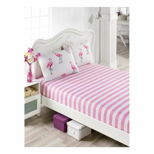 Set ružovej plachty a 2 obliečok na vankúše na jednolôžko Flamingos, 160×200 cm