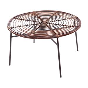 Ratanový konferenčný stôl so sklenenou doskou RGE Koriander, ⌀ 85 cm