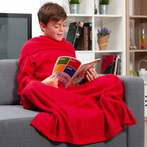 Extra mäkká červená detská deka s rukávmi InnovaGoods