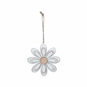 Biela kovová závesná dekorácia v tvare kvetiny Ego Dekor, ø 13 cm