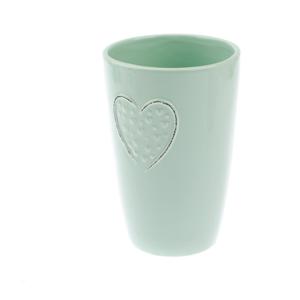 Svetlozelená keramická váza Dakls Hearts Dots, výška 18,3 cm