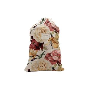 Látkový vak na bielizeň s prímesou ľanu Linen Couture Bag Roses, výška 75 cm