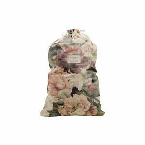 Látkový vak na bielizeň s prímesou ľanu Linen Couture Bag Spring Flowers, výška 75 cm
