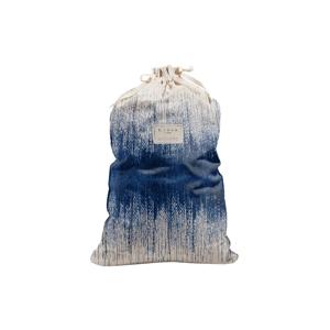 Látkový vak na bielizeň s prímesou ľanu Linen Couture Bag Blue Hippy, výška 75 cm