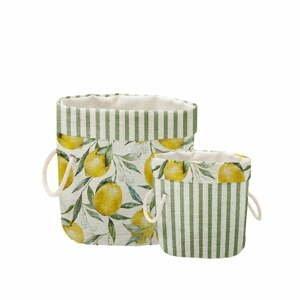 Sada 2 ks dekoratívnych košov Linen Couture Lemons And Stripes