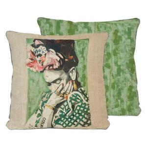 Obojstranná obliečka na vankúš s ľanovou prímesou Madre Selva Frida Collage Green, 45×45 cm