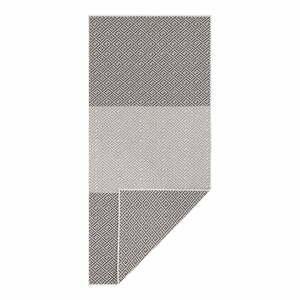 Čierno-biely obojstranný vonkajší koberec Bougari Maui, 80 x 350 cm
