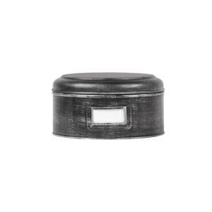 Čierna kovová dóza LABEL51 Antigue, ⌀ 25 cm