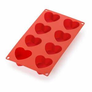 Červená silikónová forma na 8 mini dezertov v tvare srdca Lékué