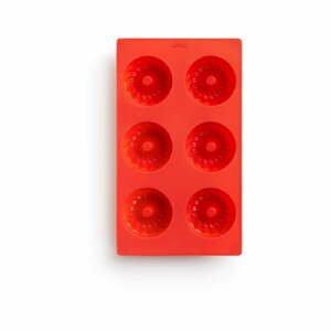 Červená silikónová forma na mini bábovky Lékué