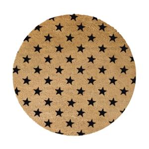 Čierna okrúhla rohožka z prírodného kokosového vlákna Artsy Doormats Stars, ⌀ 70 cm