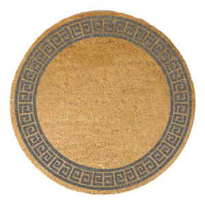 Sivá okrúhla rohožka z prírodného kokosového vlákna Artsy Doormats Greek Border, ⌀ 70 cm