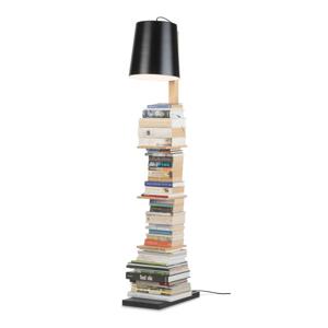 Voľne stojacia lampa s čiernym tienidlom a policami Citylights Cambridge, výška 168 cm