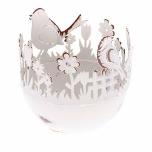 Kovový dekoratívny držiak na vajíčka s vtáčikmi Dakls