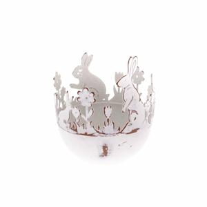 Kovový dekoratívny držiak na vajíčka so zajacom Dakls