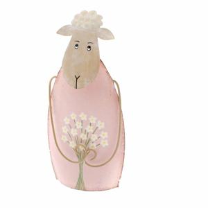 Ružová dekoratívna kovová soška ovečky Dakls