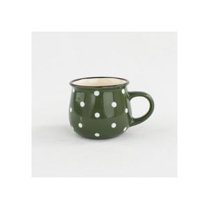 Zelený keramický hrnček s bodkami Dakls Punto, 230 ml