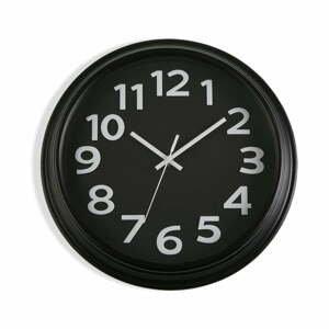 Čierne nástenné hodiny Versa In Time, ⌀32,7 cm