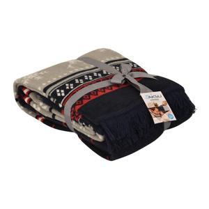 Červená deka s prímesou bavlny Aksu Carmelo, 200 × 150 cm