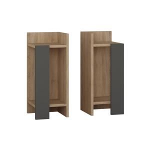 Sada 2 nočných stolíkov v dekore dubového dreva Elos