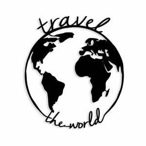 Čierna kovová nástenná dekorácia Travel The World, 55×62 cm