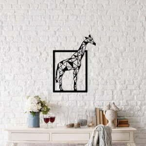 Čierna kovová nástenná dekorácia Giraffe, 45×60 cm