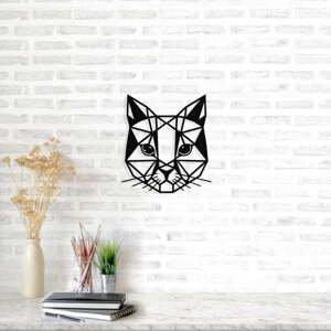 Čierna kovová nástenná dekorácia Cat, 45×49 cm