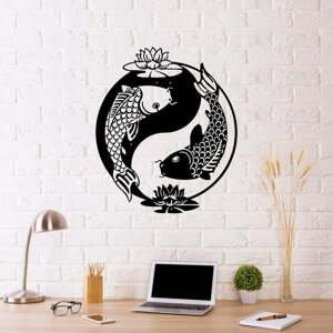 Čierna kovová nástenná dekorácia Fish Yin Yang, 41 x 49 cm