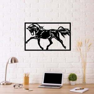 Čierna kovová nástenná dekorácia Horse Two, 70×50 cm