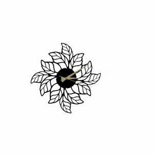 Čierne nástenné hodiny Glozis Leaves Clock, ⌀48 cm