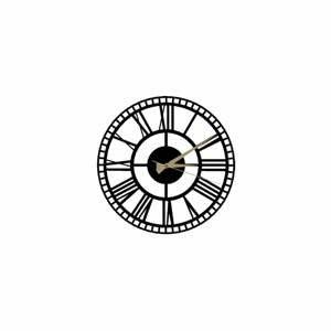 Čierne nástenné hodiny Roman Clock 2, ⌀50 cm
