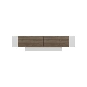 Biely TV stolík s detailmi v dekore orechového dreva Matera Walnut White